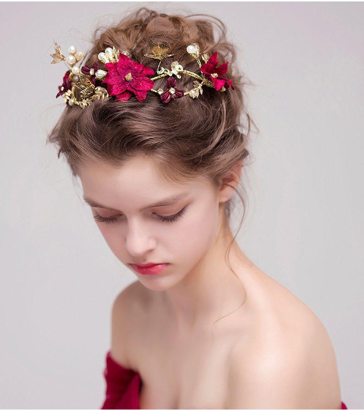 Mariée vin rouge fleur bandeaux perles bandeau tête pièce nuptiale papillon cheveux bijoux mariage couronne accessoires diadème fiori