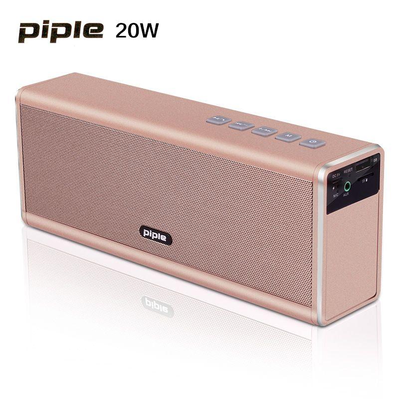 20W Metal Bluetooth Speaker 4000mah Rechargeable Battery Portable Super Bass Wireless Loud Speaker With FM Radio