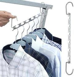 1 Pcs 37 Cm Logam Multifungsi Lemari Pakaian Gantungan Pakaian Organizer Rak Pengeringan dengan Hook Hemat Ruang