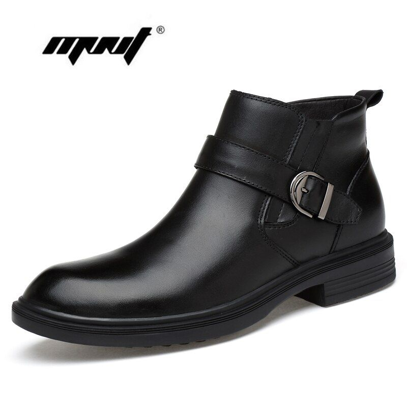 Full Grain leather Men Boots Warm Fur Plus Size Men Winter Shoes Handmade Russian Style Snow Boots