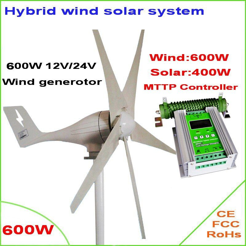 600 Watt windgenerator MAX 830 Watt windkraftanlage + 1000 Watt hybrid MPPT laderegler für 600 Watt wind turbine generator + 400 Watt sonnenkollektoren