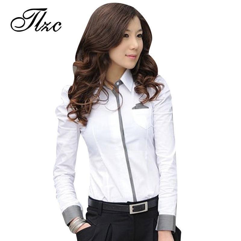 Tlzc mujer camisa nueva camisa de moda señora de la Oficina blanco 2017 de Corea casual diseño top del tamaño S-3XL noble charm mujeres formal blusa