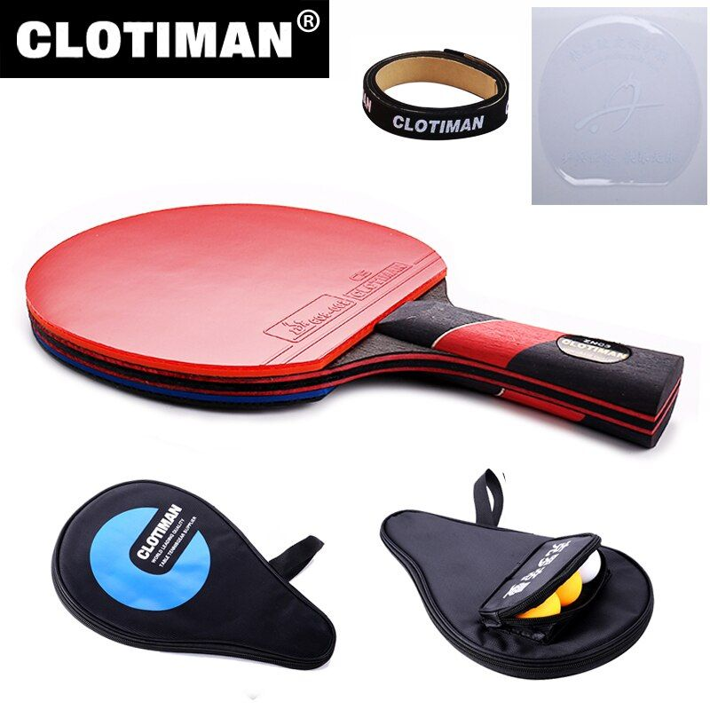 High quality carbon bat table tennis racket with rubber pingpong paddle <font><b>short</b></font> handle tennis table rackt long handle offensive