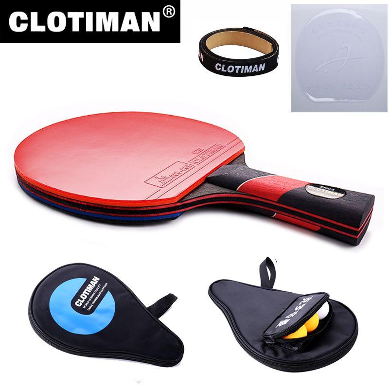 Meilleur qualité carbone bat tennis de table raquette avec caoutchouc pingpong paddle court poignée tennis de table rackt long manche offensive