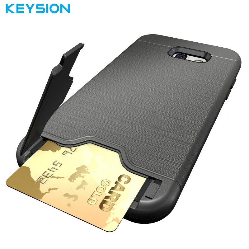 Keysion Case For Samsung Galaxy A7 2017 A720 PC + Silicone Dual Layer Brushed Drawing Texture Builtin Stand Card Cover For A720F