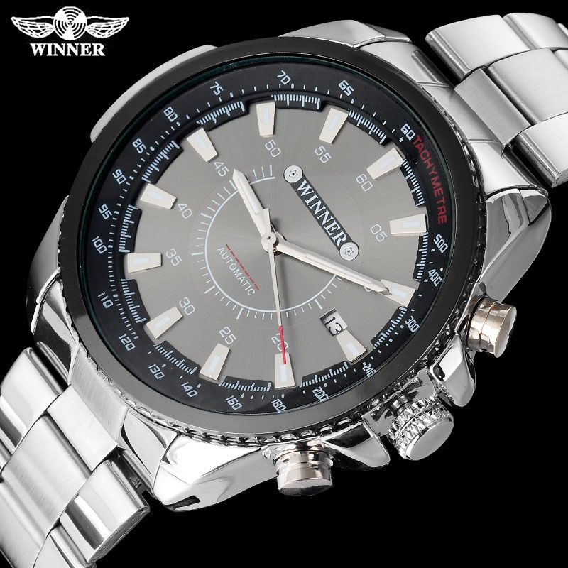 WINNER brand men luxury automatic self wind watches mechanical fashion sport watch auto date stainless steel Relogio Masculino