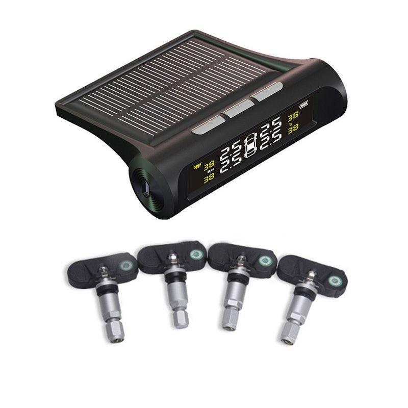 Solar Wireless TPMS Car Tire Pressure Monitoring Digital LCD Display Auto Security Alarm Systems + 4 External Sensors