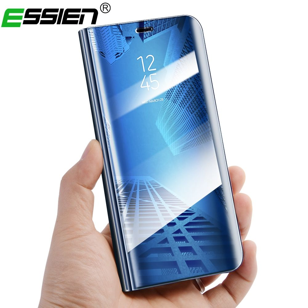 Essien View Mirror Case for Samsung Galaxy S8 Plus S7 Edge Leather Flip Stand Case for Samsung Note 8 S6 Edge Flip Case Cover