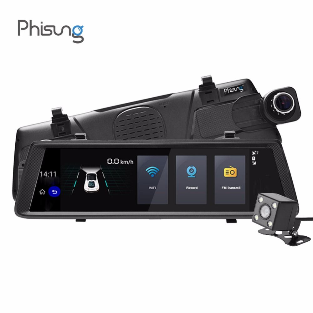 Phisung V6 Car DVR 10in Touch Remote Monitor Rear View Mirror with DVR Camera Android Dual Lens 1080P WIFI Dash Cam