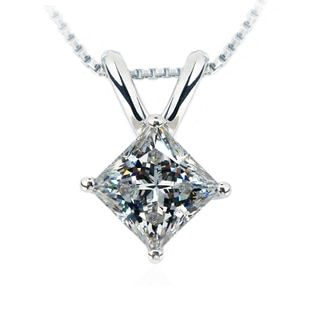 TN201 Vintage 2CT sona Synthetic Gem Princess cut Necklace Wedding Pendant Necklace For Women