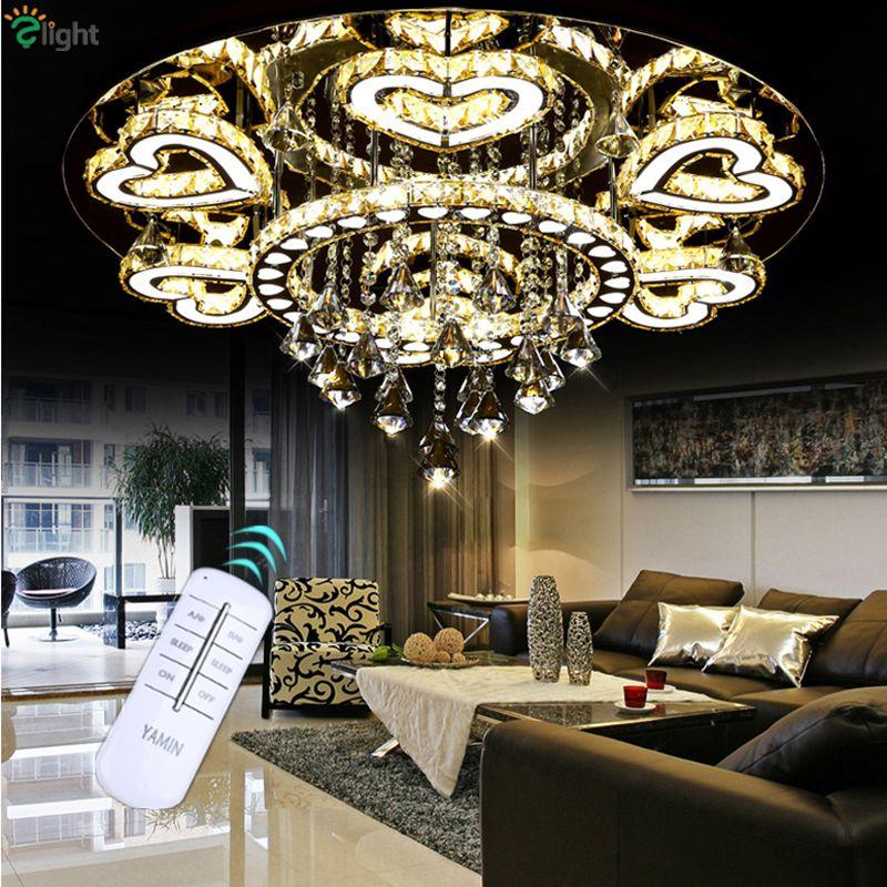 Lustre De Cristal moderne De luxe plafond Led Chrome Lustre miroir en acier romantique acrylique coeur Design Lustre lumière