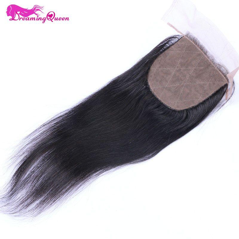 Dreaming Queen Hair Silk Base Closure Brazilian Straight Human Hair Remy Hair Bleached knots Closure With Baby Hair Free Part