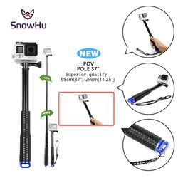 SnowHu For Go Pro 37'' Extendable Handheld POV Pole Telescopic Monopod Stick w/ Wifi Remote Holder Clip for GoPro Hero 6 5 4 3+