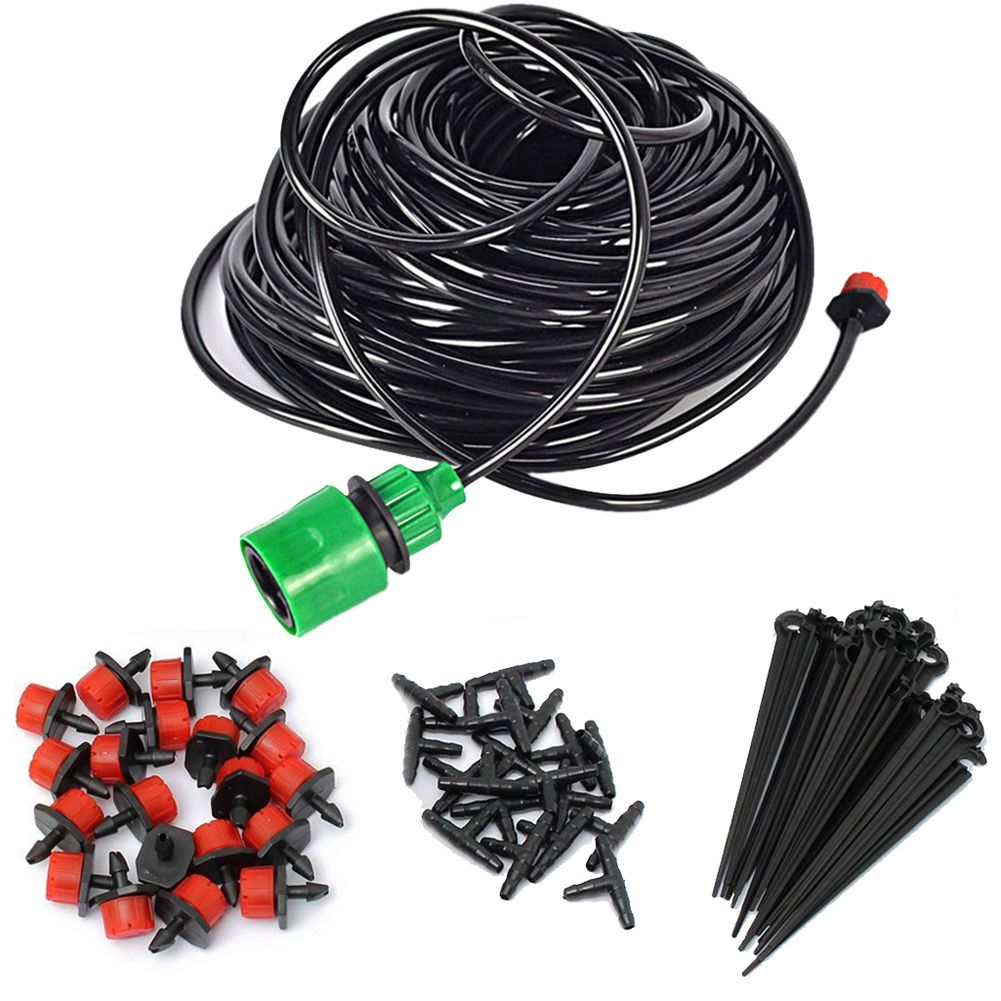 5m DIY Drip Irrigation System Automatic Plant Self Watering Garden Hose Micro Drip Garden Watering System 30pcs Adjustable Drip