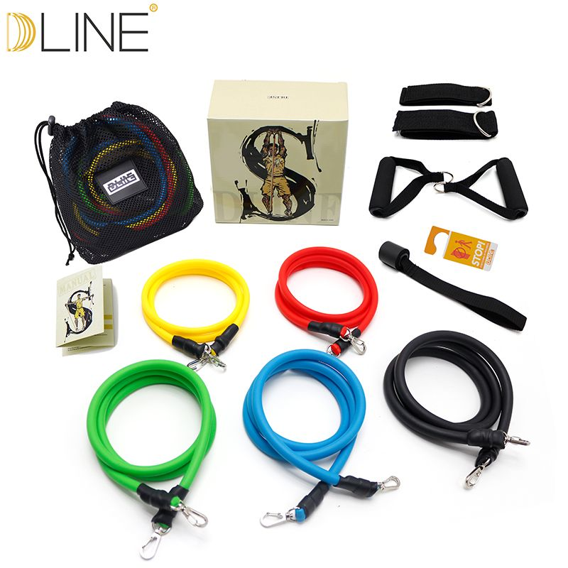 dline 11pcs/set Pull Rope Fitness Exercises Resistance Bands Crossfit Latex <font><b>Tubes</b></font> Pedal Excerciser Body Training Workout Yoga
