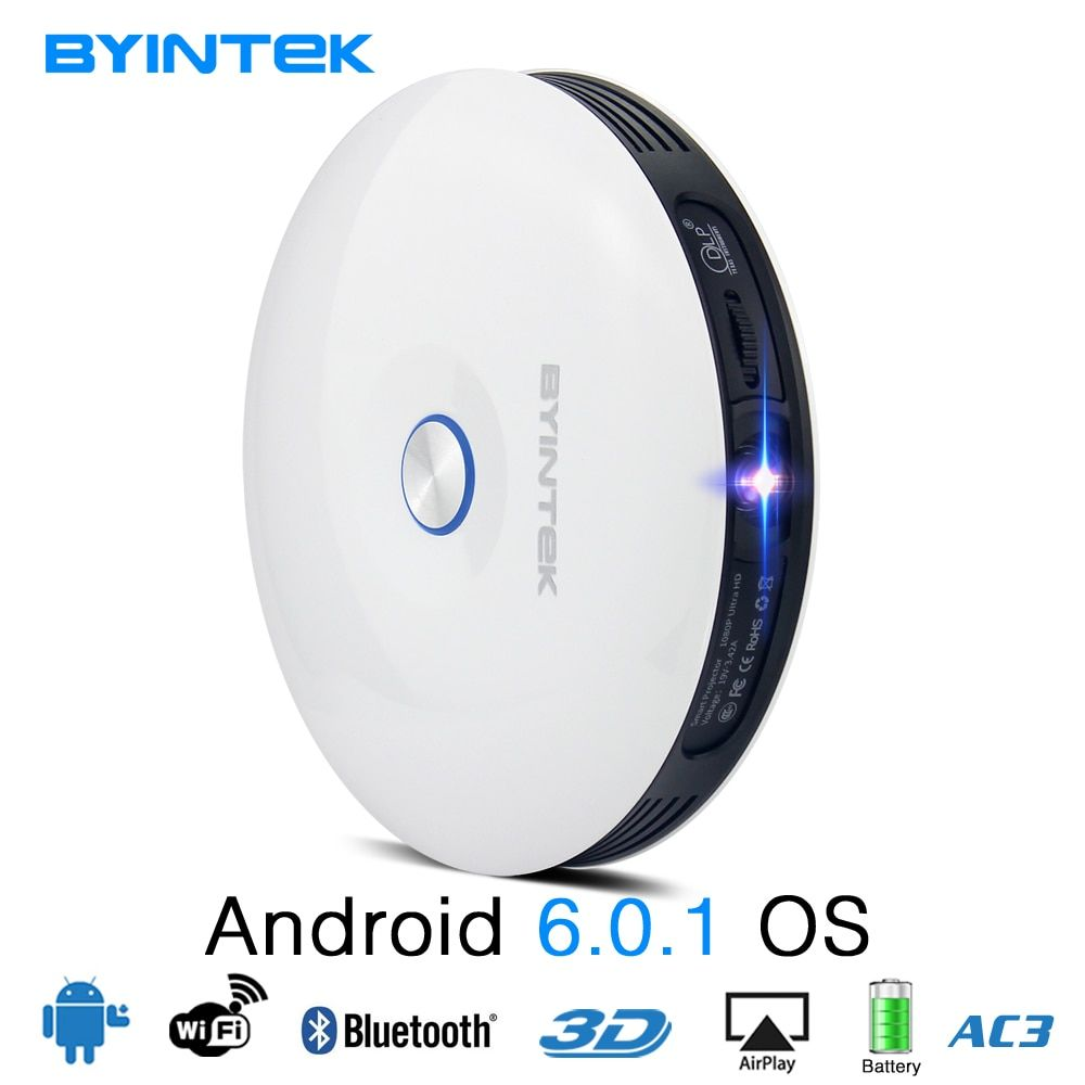 BYINTEK UFO R11 3D projector 32G Smart Android Wifi Bluetooth DLP <font><b>Full</b></font> HD Portable Video 1080P Home Theater LED Mini Projector