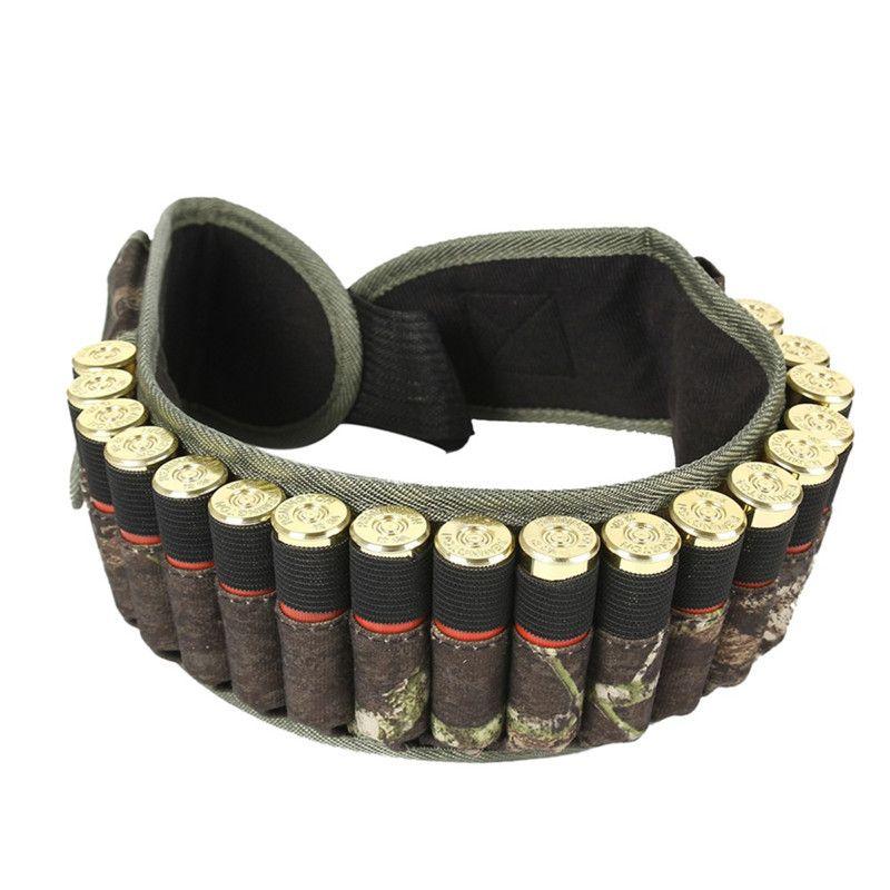 600D Nylon Tactical 28Round Shotgun Shell Belt Outdoor Hunting Waist Belt Ammo Holder with 1 Pouch Camo Bandolier Shell Belt