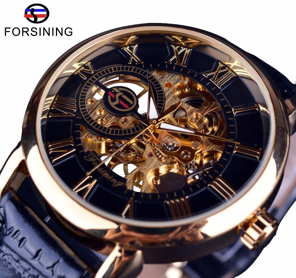 Forsining Men Watches Top Brand Luxury <font><b>Mechanical</b></font> Skeleton Watch Black Golden 3D Literal Design Roman Number Black Dial Clock