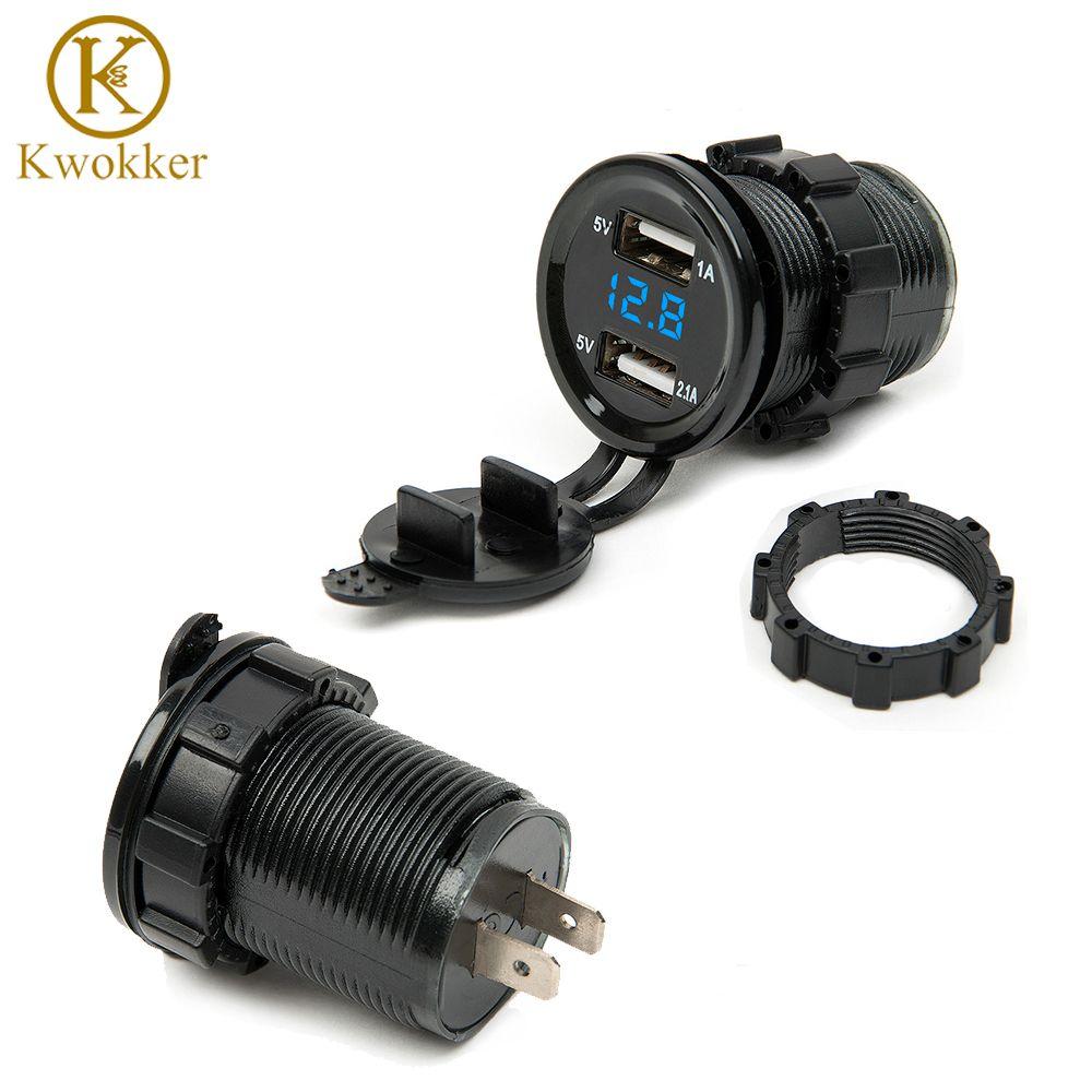 Dual USB мотоциклов Авто-прикуриватели автомобиля Авто-прикуриватели Зарядное устройство Разъем Зарядное устройство + светодиодный цифровой ...