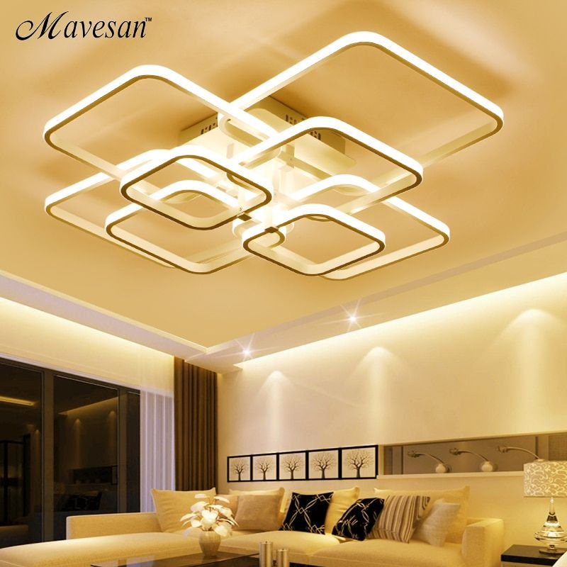 Ceiling Lights Square Rings For Living Room Bedroom Home AC85-265V Modern Led Ceiling Lamp Fixtures lustre plafonnier