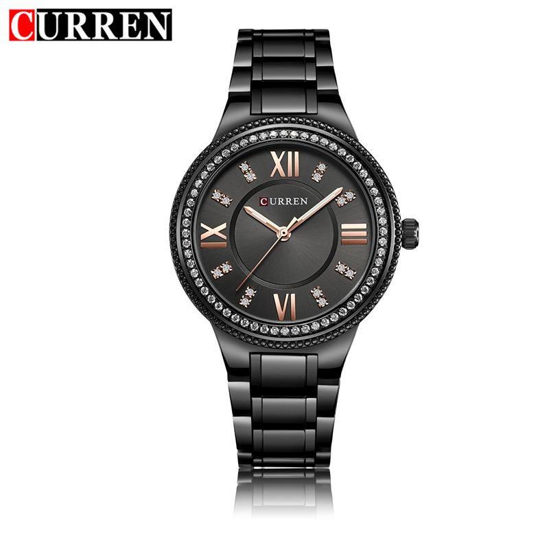 CURREN Women Watches Luxury Crystal Stainless Steel Casual Fashion Dress Quartz Wristwatches Woman Ladies Watch Genuine 9004