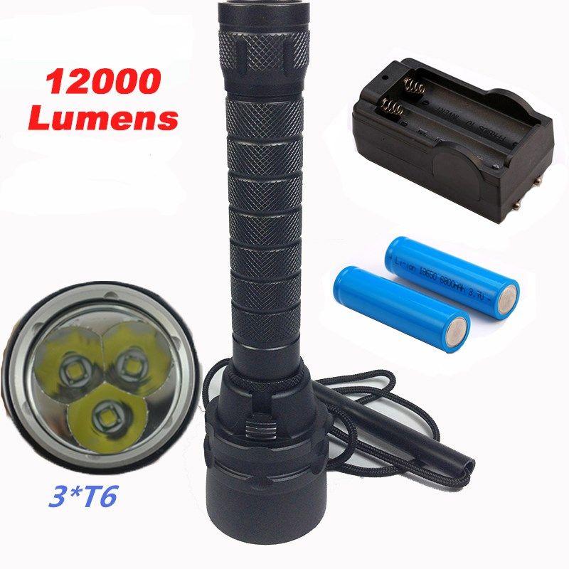 12000lumens Professional Diving Flashlight Torch 3*T6 Underwater 200 meter Diving linternas Waterproof Light Lamp for Camp/Dive