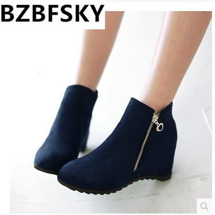 2017 herbst Winter Mode Frauen Stiefel Knöchel Kurze Stiefel Frau Schuhe Keile Ferse Damen Stiefel Seitlichem Reißverschluss Schuhe