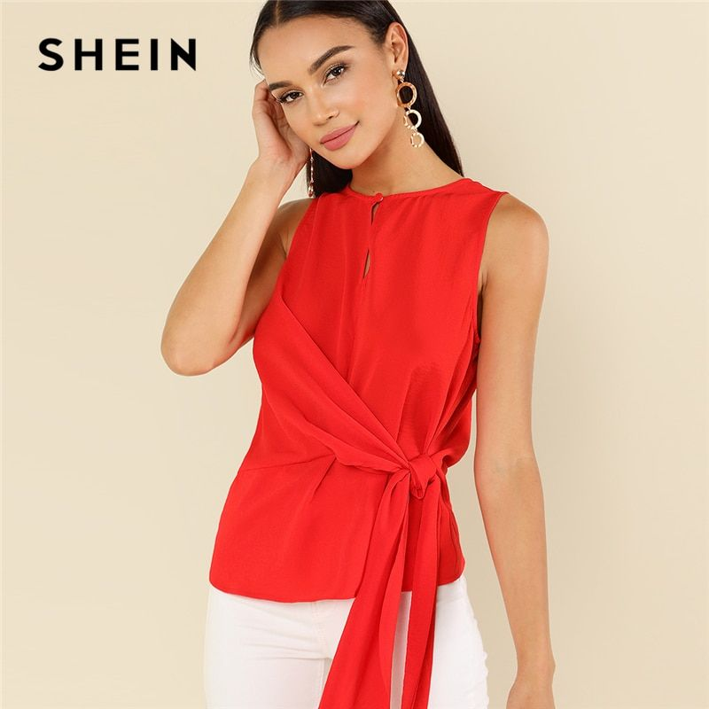 SHEIN Red Elegant Round Neck Sleeveless Buttoned Keyhole Knot <font><b>Front</b></font> Shell Blouse Summer Women Weekend Casual Shirt Top