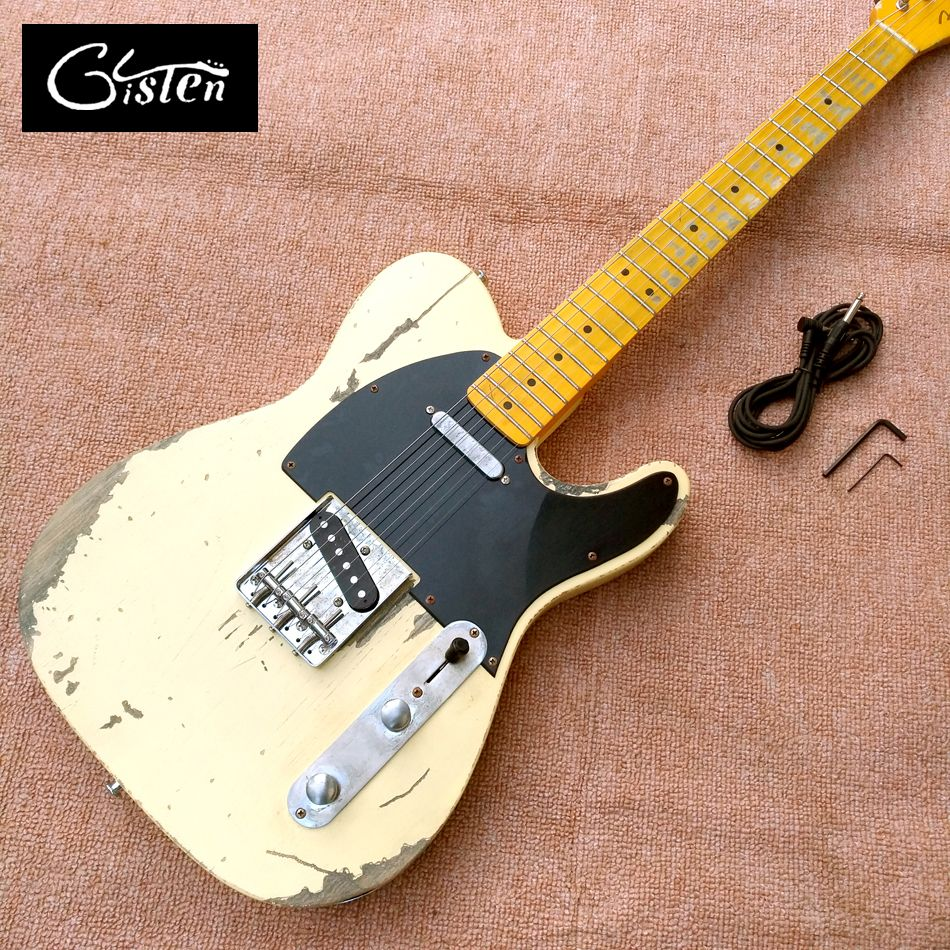 New style high quality relic remains TELE electric guitar, handmade TELE aged relic electric guitar, free shipping