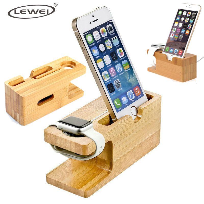Handy Ladegerät Dock mit Uhr Bambus Halter Schreibtisch Holz Lade stehen für Apple Uhr 2 38mm 42mm iPhone 7 6 s Plus telefon