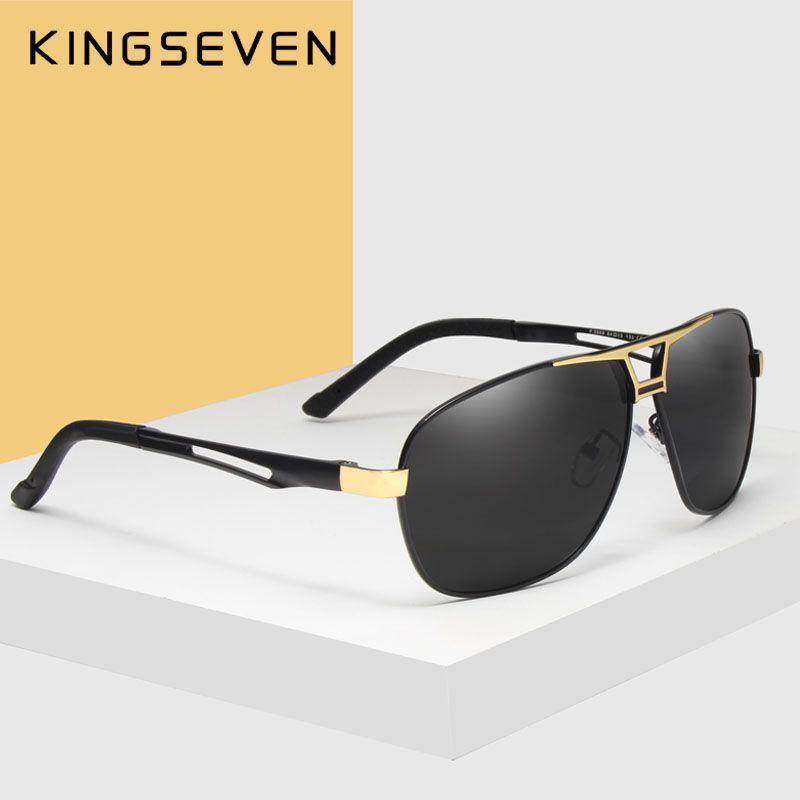 KINGSEVEN 2018 Sunglasses Men Polarized Square <font><b>Lens</b></font> Brand Designer Driving Sun glasses Aluminum Classic Frame Oculos De Sol 7821