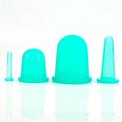 4 pcs/ensemble Soins de Santé Corps Anti-Cellulite Vide de Silicone De Massage Eye Cou Visage Massage Du Dos Ventouses Tasse