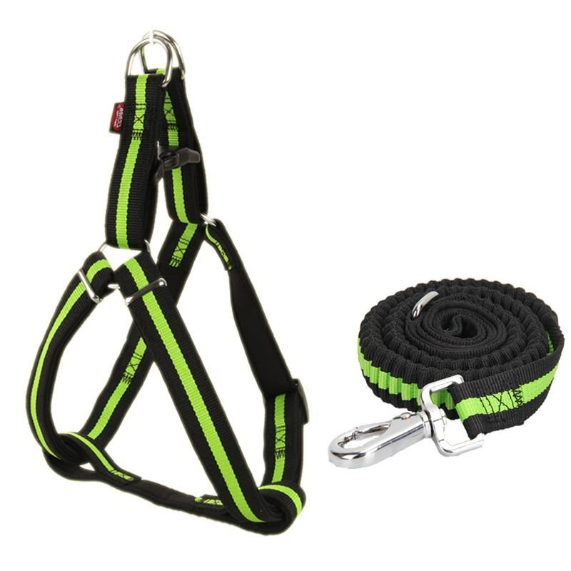 Pet Elastic Nylon Leash Harness Set Dog Adjustabl lead Soft Durable Large Medium for Dog Harness and Leashes Training Walking