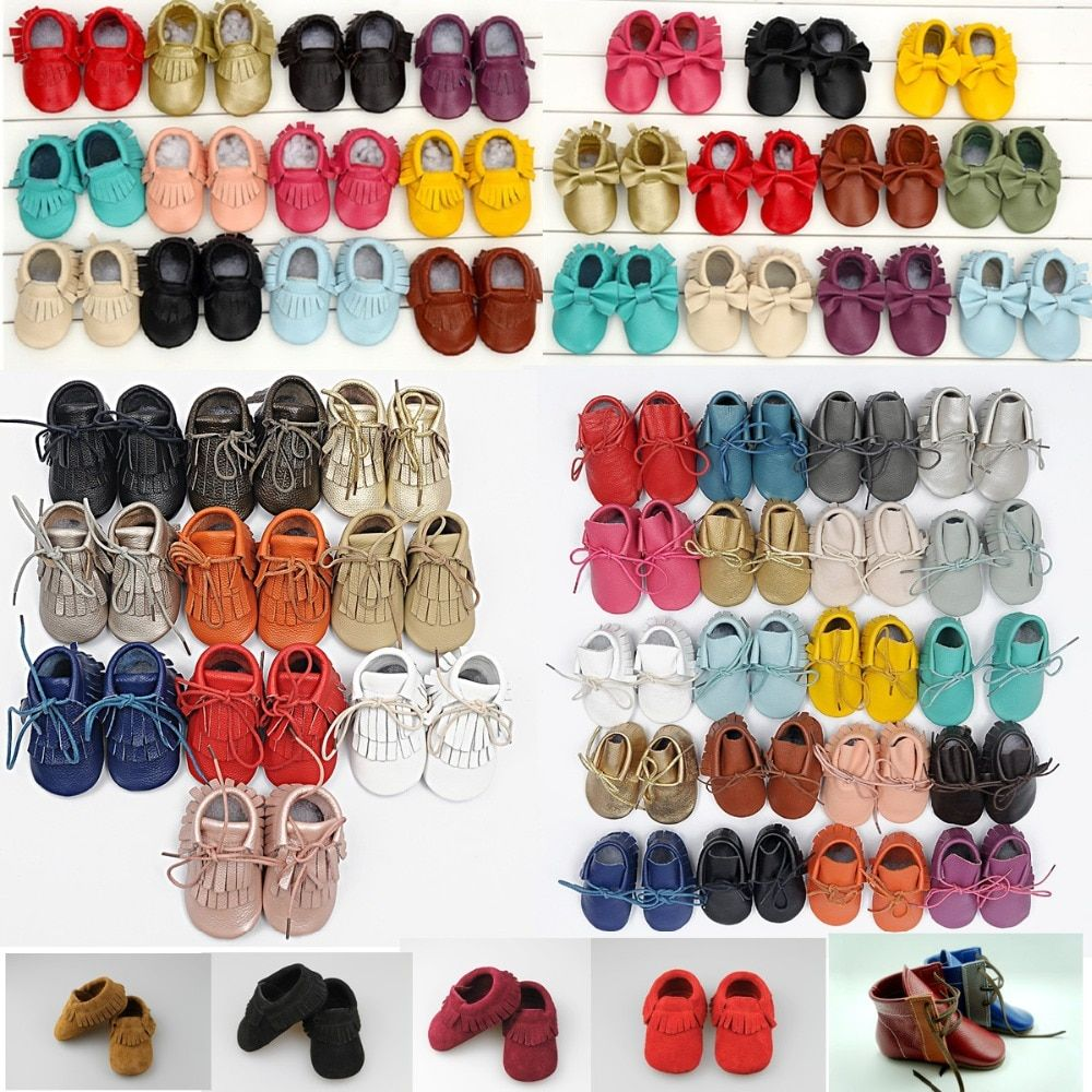 Genuine Leather First Walkers Soft bottom Toddler Baby moccasins Infant Fringe Bow Baby Shoes Free shipping