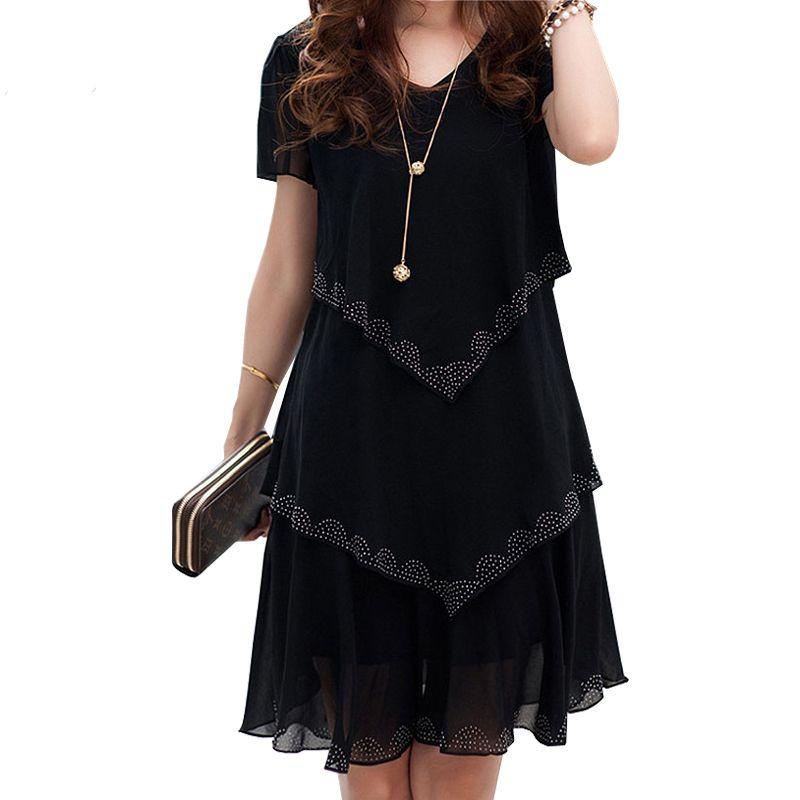 Robe d'été en mousseline De soie Robe De Festa Robe Sexy femmes robes De fête 2019 5xl grande taille femmes vêtements Vestidos noir bleu