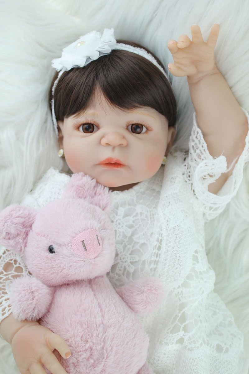55cm Full Silicone Body Reborn Girl Baby Doll Toy Lifelike Vinyl Princess Toddler Doll Birthday <font><b>Gift</b></font> Present Girl Brinquedos