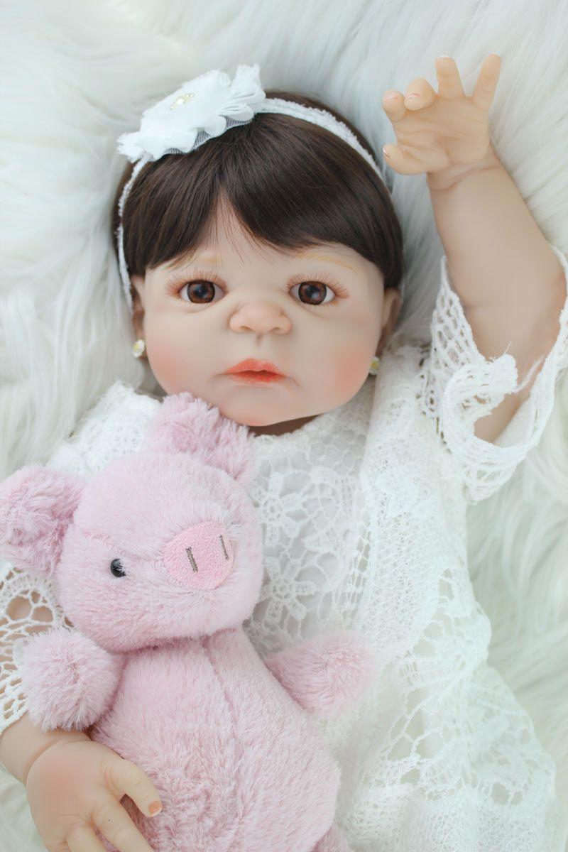 55cm Full Silicone Body Reborn Girl Baby Doll Toy Lifelike Vinyl Princess Toddler Doll Birthday Gift Present Girl Brinquedos