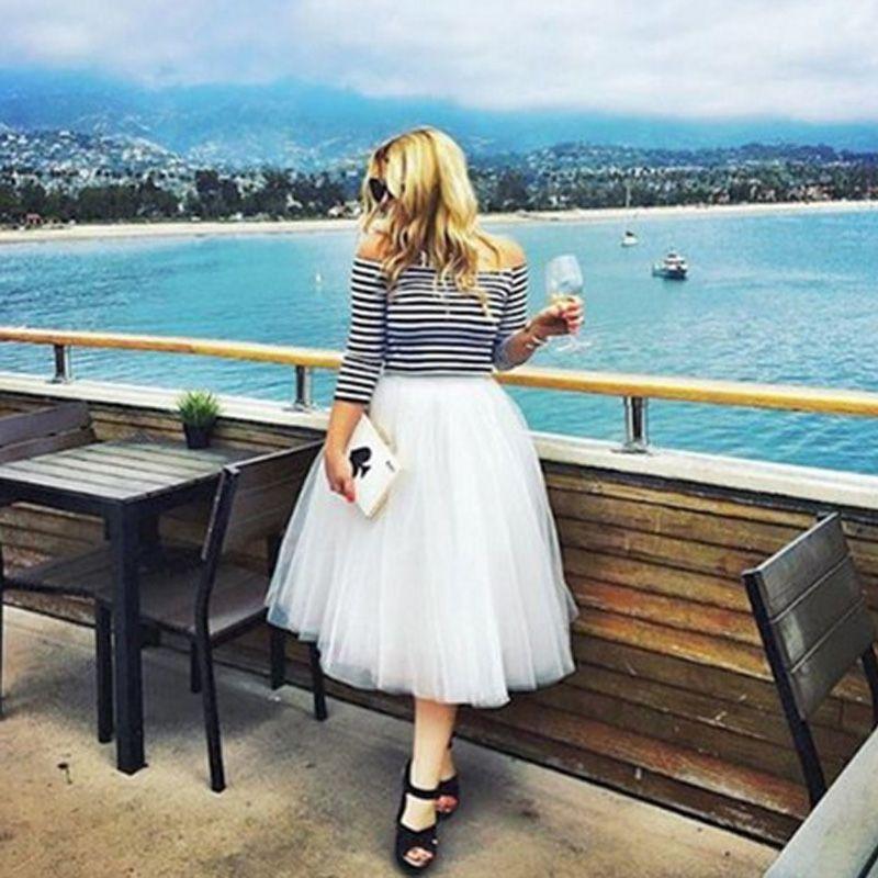 7 Layers Midi Tulle Skirts Womens Fashion Pleated TUTU Skirt Elegant Wedding Vintage Lolita Petticoat faldas <font><b>mujer</b></font> saias Jupe