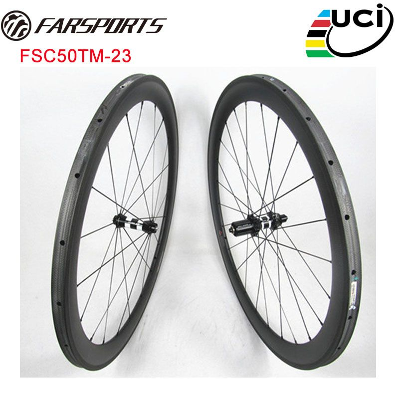 DT 350S HUBS road wheels with Sapim cx-ray spokes , Farsports 50mm x 23mm width carbon road wheels tubular , light weight 1331g