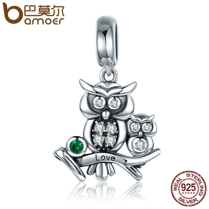 BAMOER Genuine 100% 925 Sterling Silver Cute Owl Love Story Pendant Charms fit Bracelets Necklace Jewelry Accessories SCC425