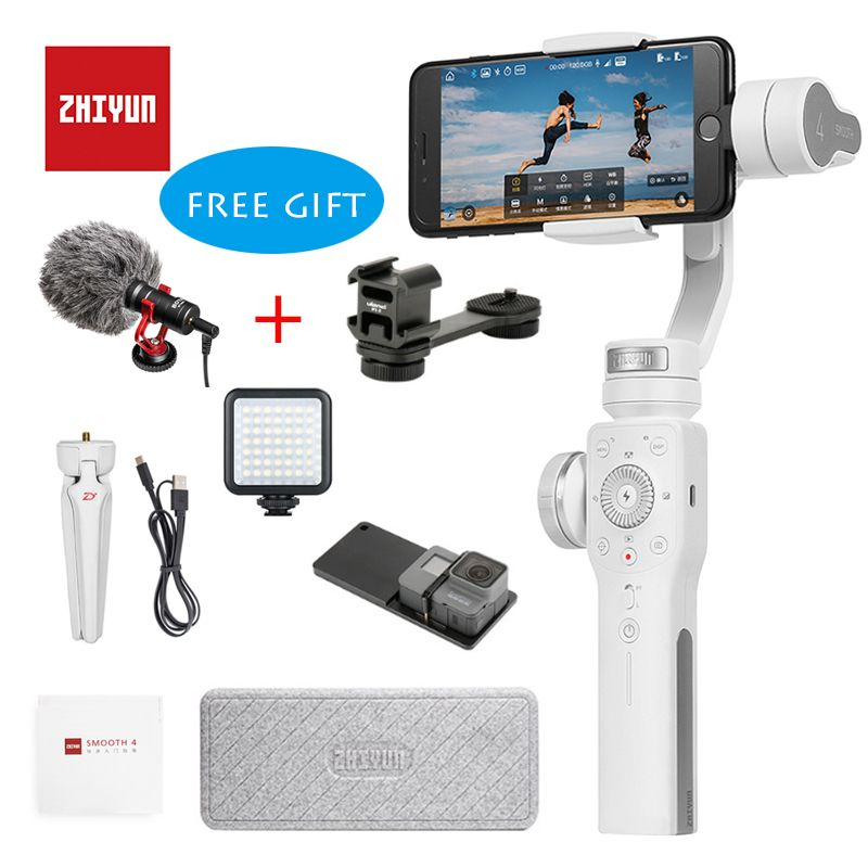 Zhiyun Smooth 4 Handheld 3-Axis Brushless Gimbal Stabilizer for iPhone X Samsung S9 Huawei P10 xiaomi 6 Gopro 5/4/3 In stock