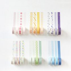 4 pcs De Base arc-en-papier washi bande ensemble 15mm * 7 m couleur décoration ruban de masquage autocollants Scrapbooking École fournitures A6871