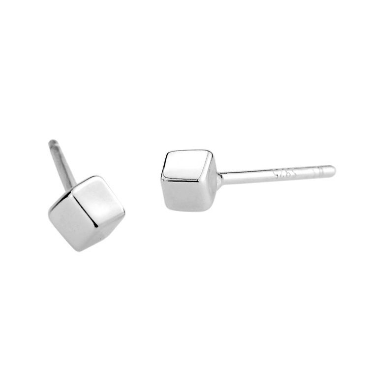 100% Sterling Silver Jewelry Dimensional Square Earrings Stud Earrings Silver Earrings Top Quality!! Free Shipping