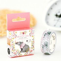 1pcs Blue Feathers Hand Account Album Decorative Water Color Washi Tape Office Adhesive Tape 1.5CM*7M Stationery Decoration