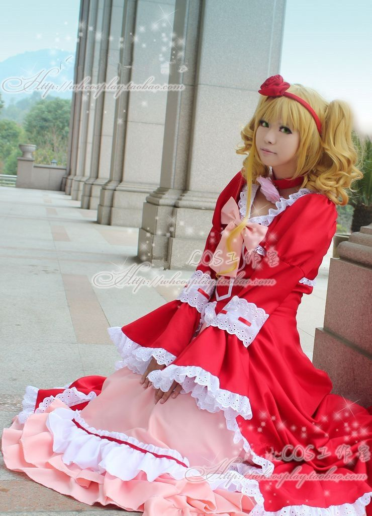 Majordome noir kuroshisuji Elizabeth Cosplay Costume rouge robe de fantaisie robe Lolita Costumes d'halloween pour les femmes personnalisé n'importe quelle taille