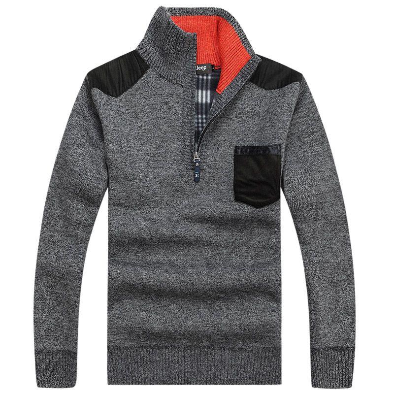 Big Size 3xL Warm Thick Velvet Cashmere Sweaters Men Winter Pullovers Zipper Mandarin Collar Man Casual Clothes Pattern Knitwear