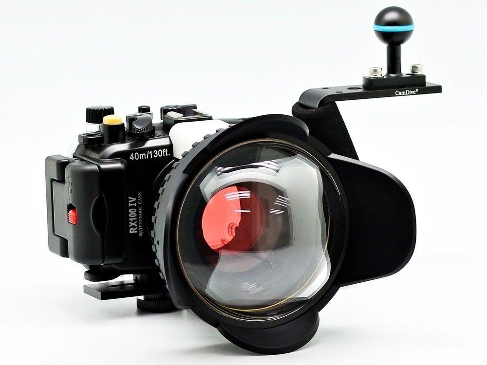 Für Sony DSC RX100 IV 40 mt/130ft Meikon Unterwasserkamera Gehäuse Tauchen Fall Kit (67mm Runde Kuppel Fischauge Tauchen Griff Filter