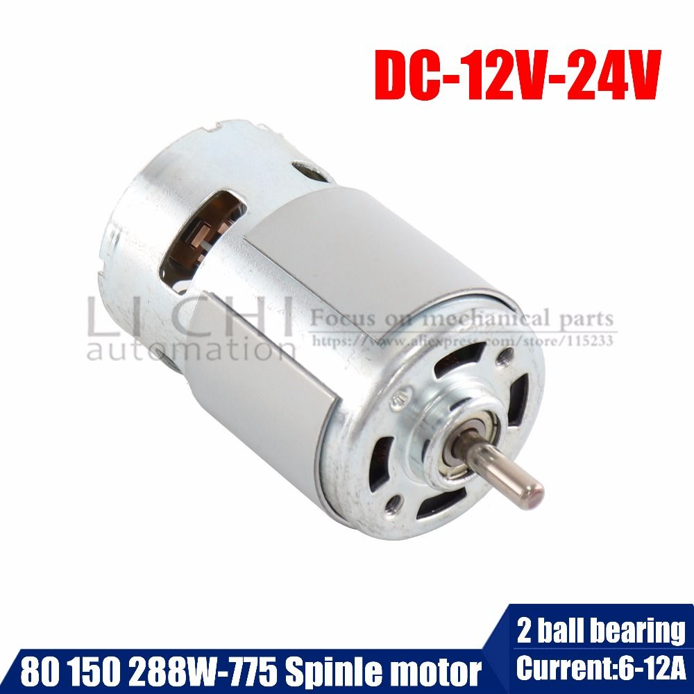 775 DC Electric spindle Motor For Drill 12 24V 80W <font><b>150W</b></font> 288W Brush dc motors rs 775 lawn mower motor with two ball bearing Rated