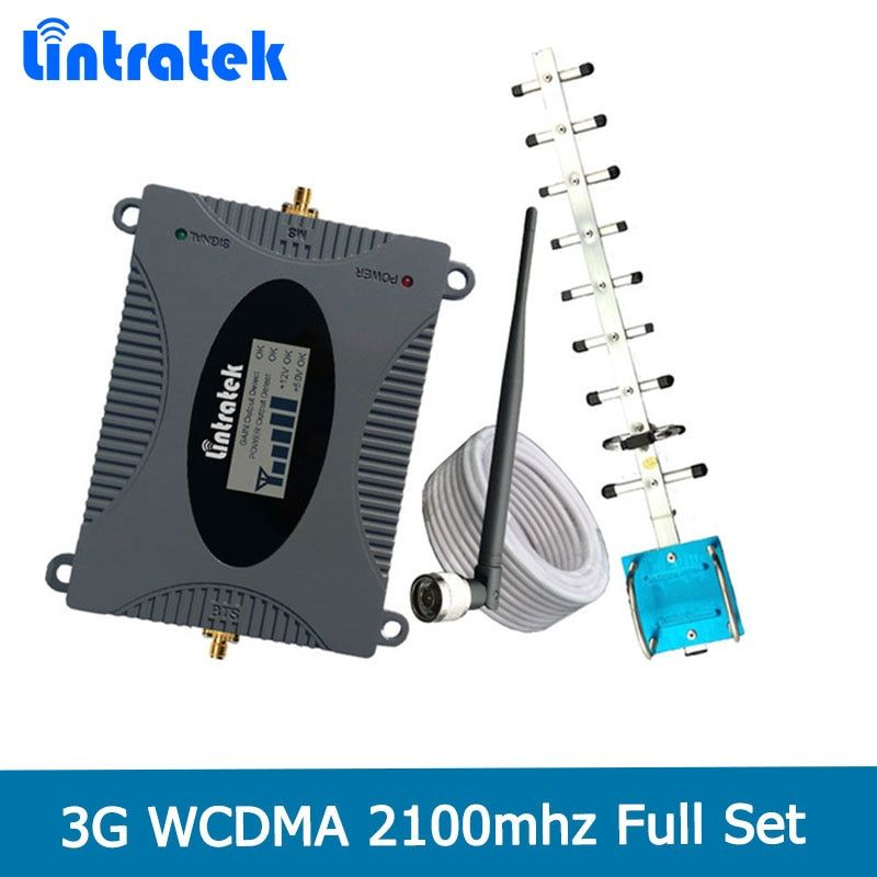 Lintratek 2018 3G Mobile Signal Repeater Booster Amplifier UMTS 2100MHz (Band 1) W-CDMA Cell Phones 3G Yagi Antenna Set