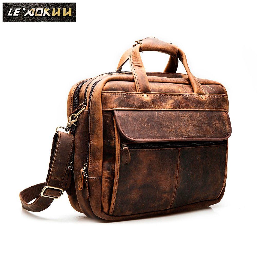 Men Crazy Horse Leather Antique Vintage Design Business Briefcase Laptop Case Fashion Attache Messenger Bag Tote Portfolio 7146d